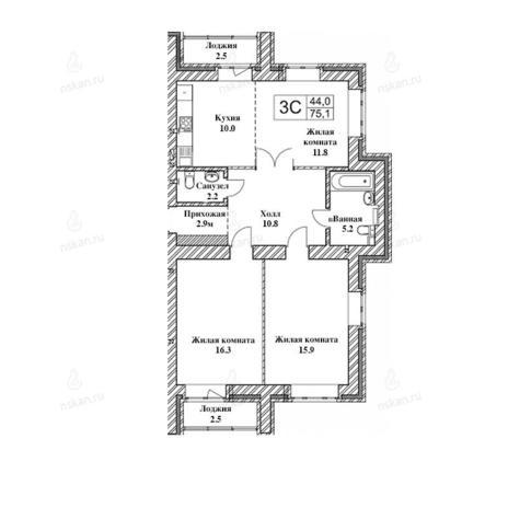 Вариант №2473, 3-комнатная квартира в жилом комплексе