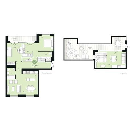Вариант №6354, 4-комнатная квартира в жилом комплексе