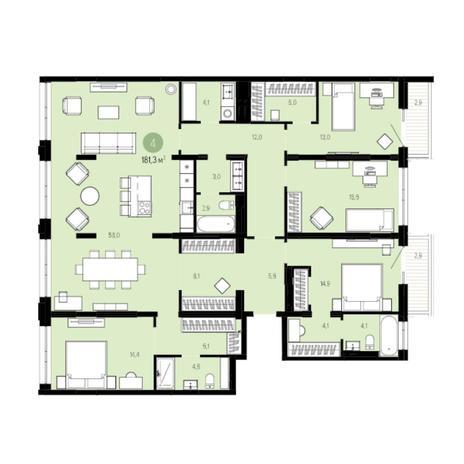 Вариант №6030, 5-комнатная квартира в жилом комплексе