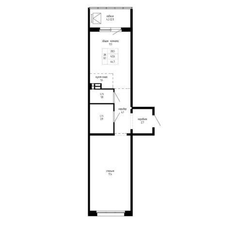 Вариант №5197, 2-комнатная квартира в жилом комплексе