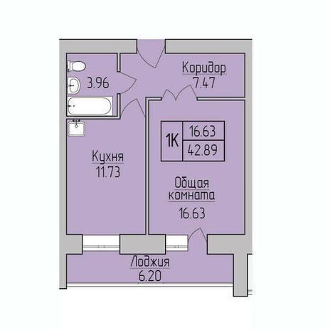 Вариант №3842, 1-комнатная квартира в жилом комплексе Облака