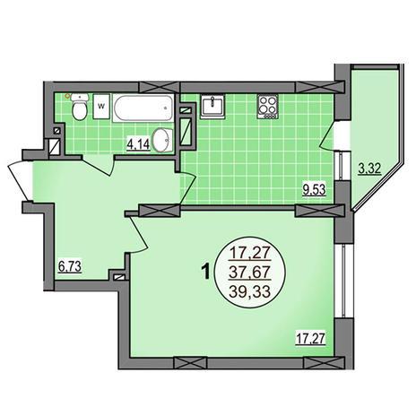 Вариант №3881, 1-комнатная квартира в жилом комплексе Гурьевский