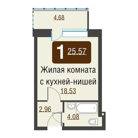 Вариант №3492, 1-комнатная квартира в жилом комплексе