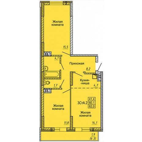 Вариант №4966, 3-комнатная квартира в жилом комплексе Одесса