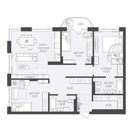 Вариант №6223, 4-комнатная квартира в жилом комплексе