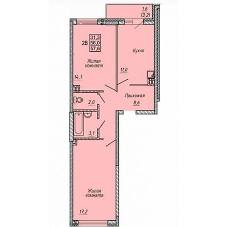 Вариант №5322, 2-комнатная квартира в жилом комплексе Матрешкин двор
