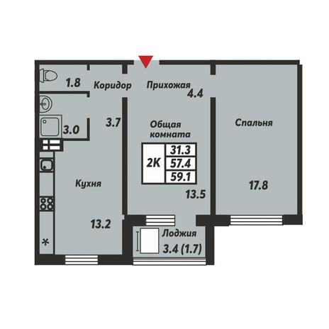 Вариант №3675, 2-комнатная квартира в жилом комплексе Галактика