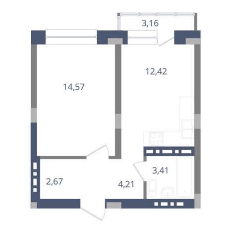 Вариант №3653, 1-комнатная квартира в жилом комплексе