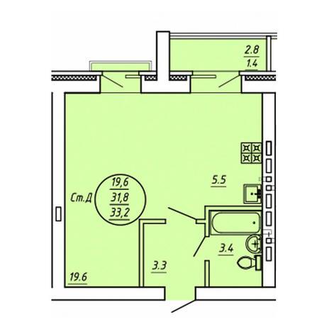 Вариант №3596, 1-комнатная квартира в жилом комплексе