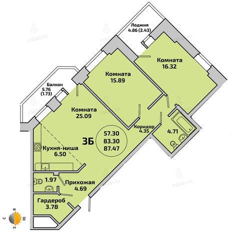 Вариант №1954, 3-комнатная квартира в жилом комплексе Приозерный