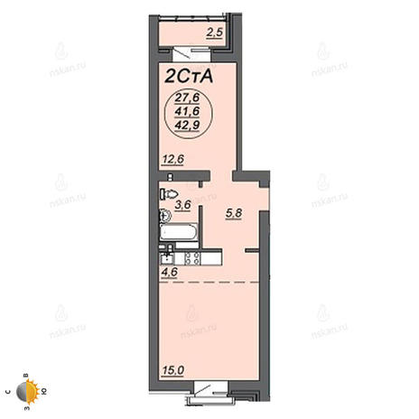 Вариант №2232, 2-комнатная квартира в жилом комплексе
