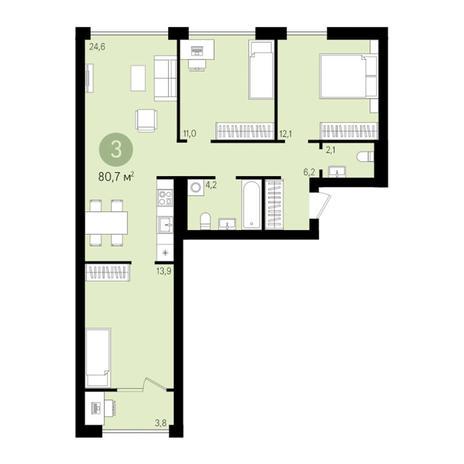 Вариант №3022, 4-комнатная квартира в жилом комплексе