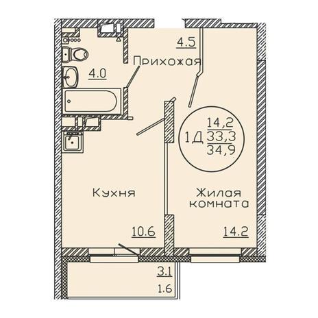Вариант №3194, 1-комнатная квартира в жилом комплексе