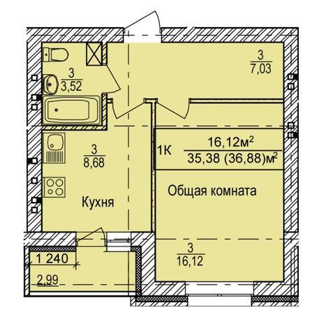 Вариант №6149, 1-комнатная квартира в жилом комплексе