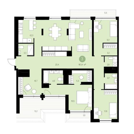 Вариант №5997, 4-комнатная квартира в жилом комплексе