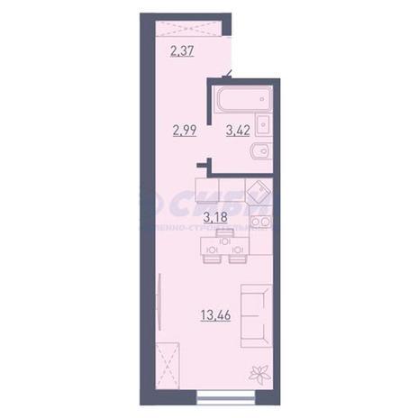 Вариант №3732, 1-комнатная квартира в жилом комплексе Радуга Сибири