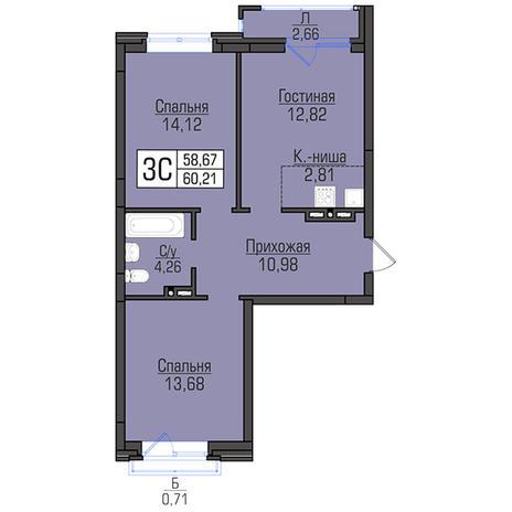 Вариант №2950, 3-комнатная квартира в жилом комплексе Цивилизация