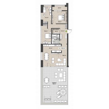 Вариант №5867, 4-комнатная квартира в жилом комплексе