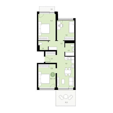 Вариант №4660, 4-комнатная квартира в жилом комплексе Европейский Берег