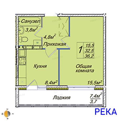 Вариант №2019, 1-комнатная квартира в жилом комплексе Венеция