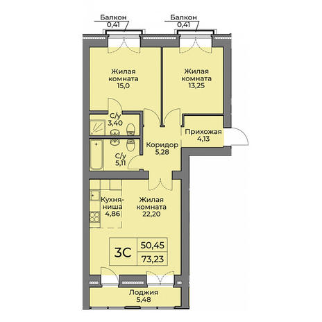 Вариант №3565, 3-комнатная квартира в жилом комплексе