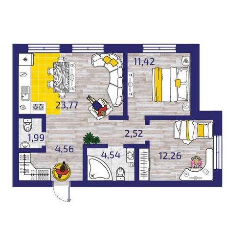 Вариант №3779, 3-комнатная квартира в жилом комплексе Пифагор