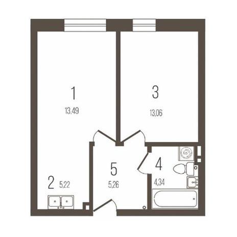 Вариант №3645, 2-комнатная квартира в жилом комплексе Крымский