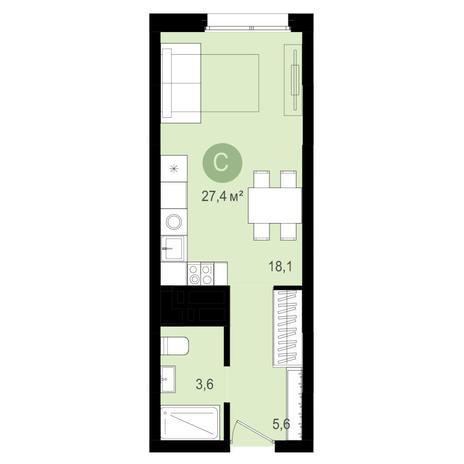 Вариант №4340, 1-комнатная квартира в жилом комплексе Европейский Берег
