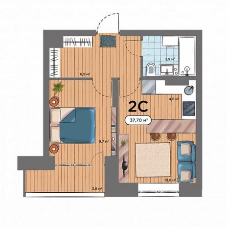 Вариант №6571, 2-комнатная квартира в жилом комплексе