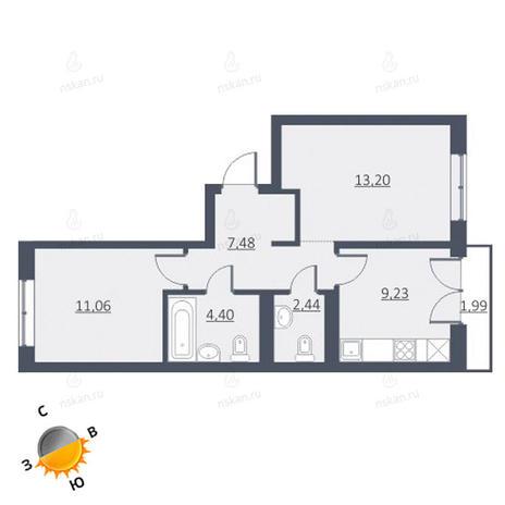 Вариант №1649, 2-комнатная квартира в жилом комплексе