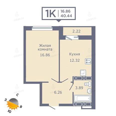 Вариант №1356, 1-комнатная квартира в жилом комплексе Радуга Сибири