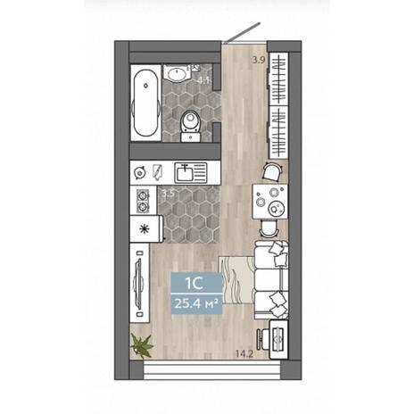 Вариант №4532, 1-комнатная квартира в жилом комплексе Акварельный 3.0