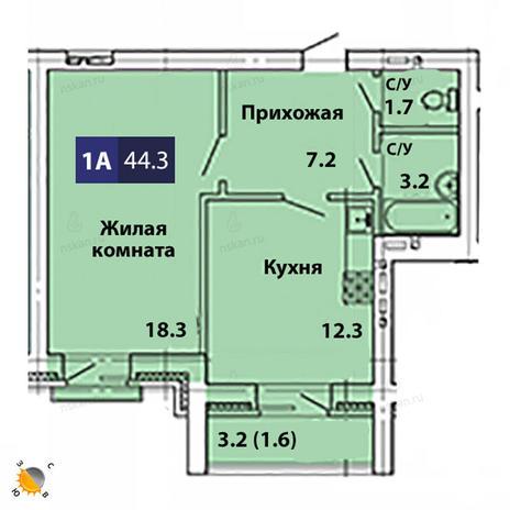 Вариант №1828, 1-комнатная квартира в жилом комплексе На Королева