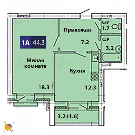 Вариант №1828, 1-комнатная квартира в жилом комплексе