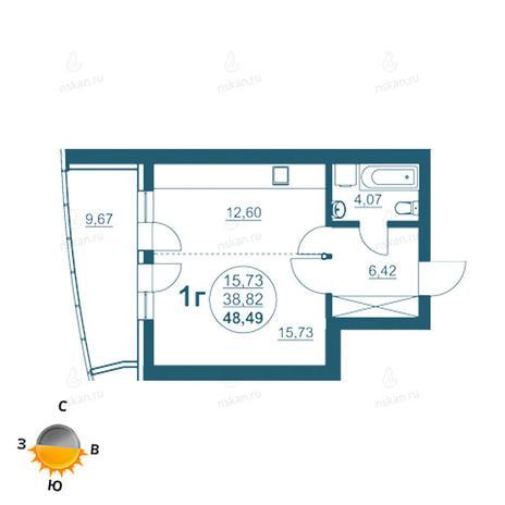 Вариант №957, 1-комнатная квартира в жилом комплексе Флотилия