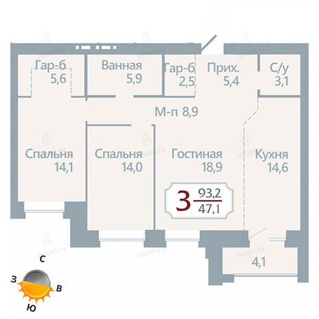 Вариант №1752, 3-комнатная квартира в жилом комплексе Бульварный переулок