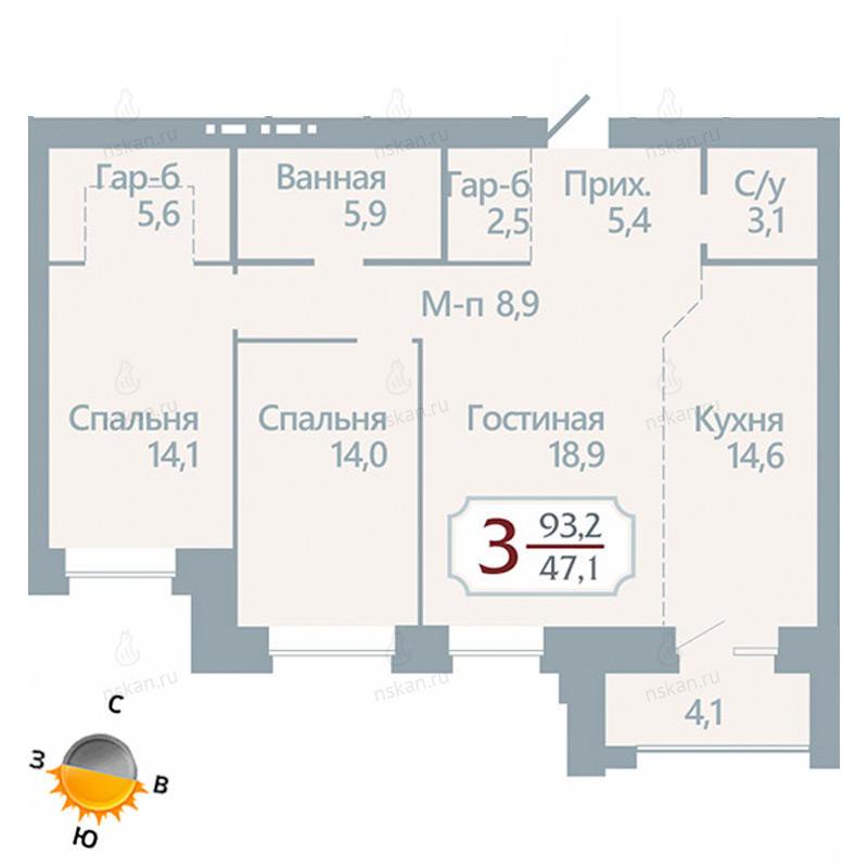 Планировка 3-комнатная площадью 93.2 м<sup>2</sup> в ЖК Бульварный переулок