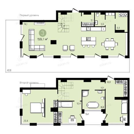 Вариант №2381, 4-комнатная квартира в жилом комплексе