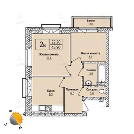 Вариант №1232, 2-комнатная квартира в жилом комплексе