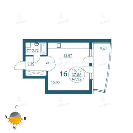 Вариант №961, 1-комнатная квартира в жилом комплексе Флотилия