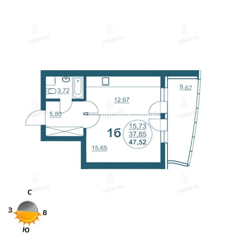 Планировка 1-комнатная площадью 47.52 м<sup>2</sup> в ЖК Флотилия