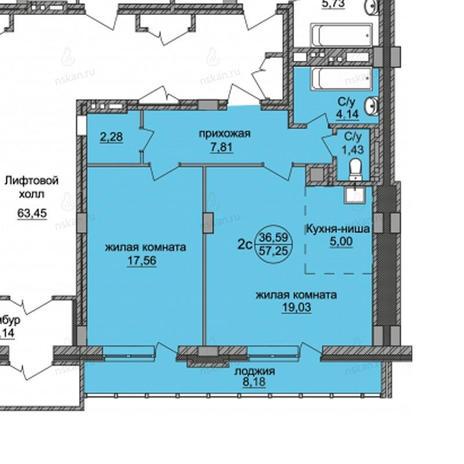 Вариант №821, 2-комнатная квартира в жилом комплексе Стрижи на Родниках