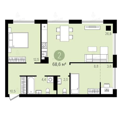 Вариант №2625, 3-комнатная квартира в жилом комплексе Квартал на Никитина