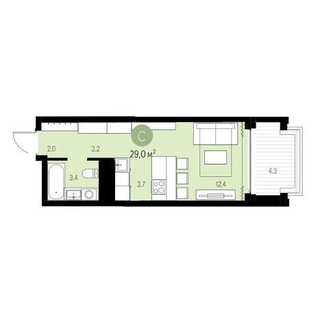 Вариант №5446, 1-комнатная квартира в жилом комплексе