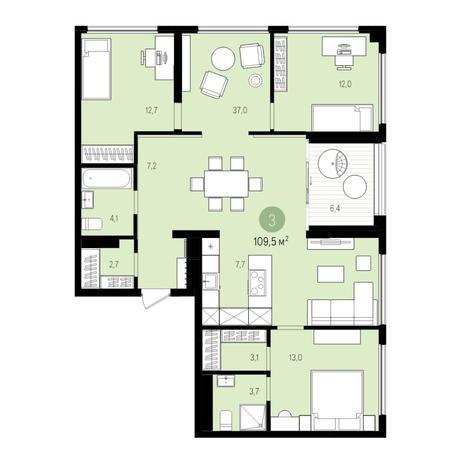 Вариант №5522, 5-комнатная квартира в жилом комплексе