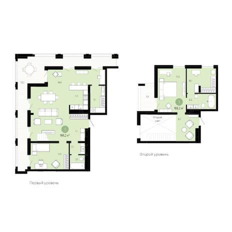 Вариант №6040, 3-комнатная квартира в жилом комплексе