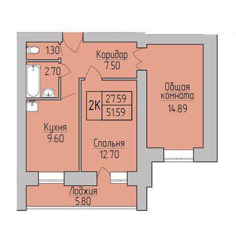 Вариант №3831, 2-комнатная квартира в жилом комплексе