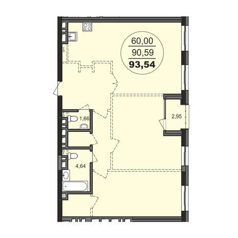 Вариант №3713, 3-комнатная квартира в жилом комплексе