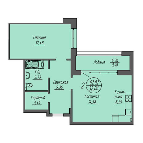 Вариант №3206, 2-комнатная квартира в жилом комплексе