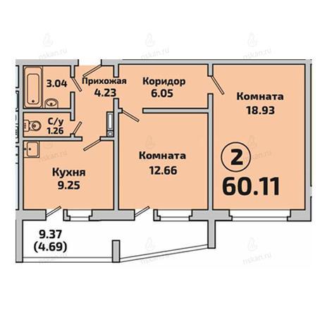 Вариант №2844, 2-комнатная квартира в жилом комплексе